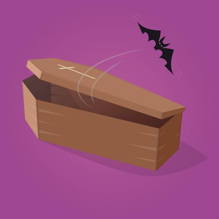 flying coffin: creepy comic bat is flying out from a coffin