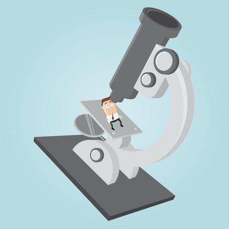 Geschäftsmann auf einem großen Mikroskop Vektorgrafik