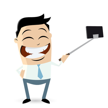 funny businessman making a selfie