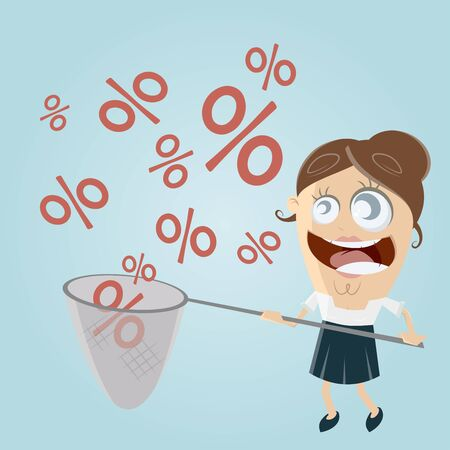 funny business woman catching percent signs Illustration