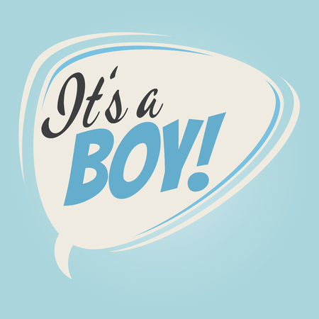 it's a boy retro speech balloon Vectores