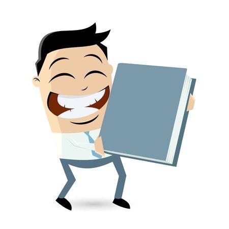 funny businessman holding a big book