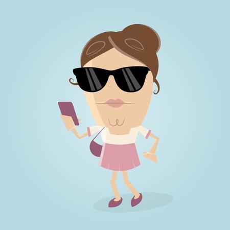 stylish woman: stylish woman with smartphone and sunglasses