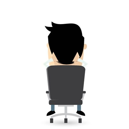 recline: funny businessman sitting in an office chair Illustration