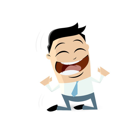 successful businessman cheering on his knees Illustration
