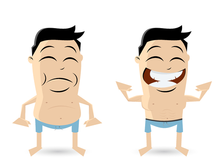 fat and athletic guy cartoon clipart