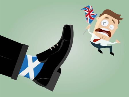 skeptical: scotland great britain caricature exit Illustration