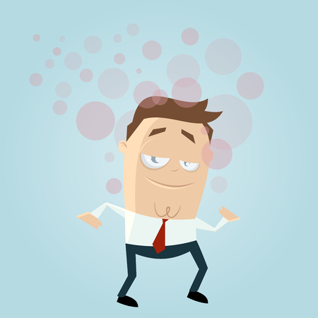 intoxication: funny businessman is high Illustration