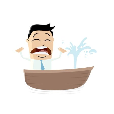 the leak: funny businessman in a boat with a leak Illustration