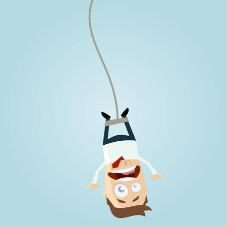 jumping: bungee jumping businessman Illustration