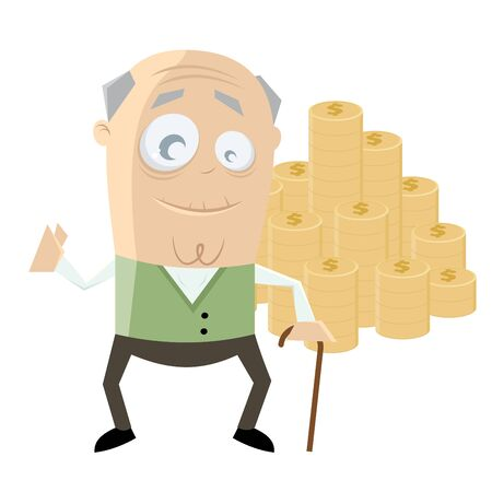 funny senior with a lot of money Illustration