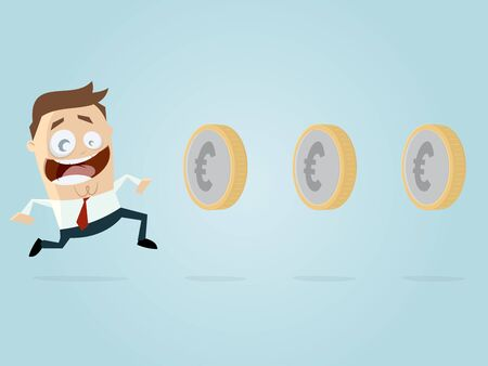 earning: businessman is earning money like playing a game