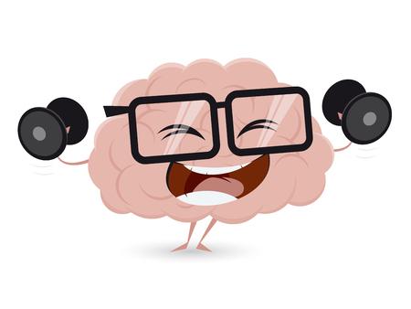 drôle séance d'entraînement du cerveau avec des haltères cliparts
