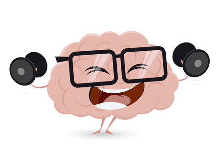 funny brain workout with dumbbells clipart