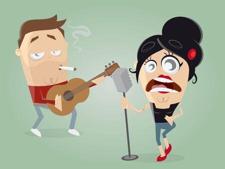 Chitarrista e cantante agire insieme Archivio Fotografico - 62341087