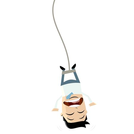 jumping: bungee jumping businessman clipart