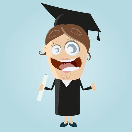 happy woman with degree Illustration