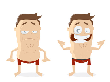plumb: fat and athletic guy cartoon clipart
