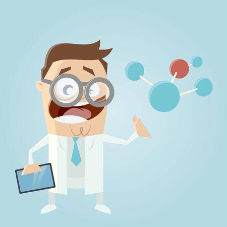 smock: funny cartoon scientist with big molecule and tablet Illustration