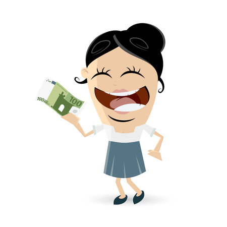 happy woman with euro bill