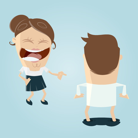 ridicule: woman laughing at man with dropped pants Illustration