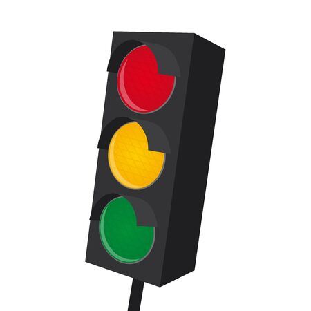 urbane: isolated traffic light with all lights on