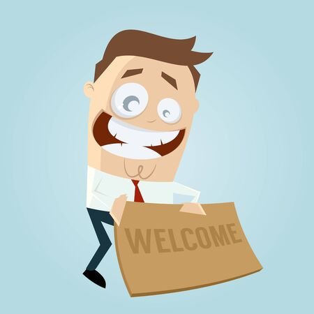 funny businessman with welcome mat Illustration