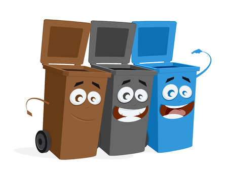 funny group of trashcans waiting for trash  イラスト・ベクター素材