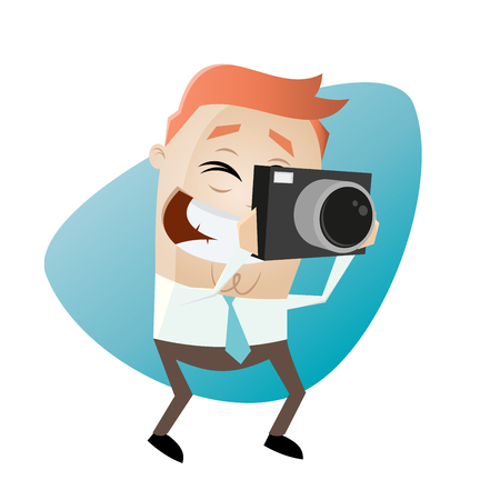 Funny businessman takes a picture