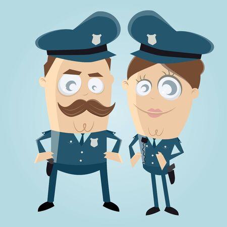 Lustige Clipart eines Polizeibeamten-Teams