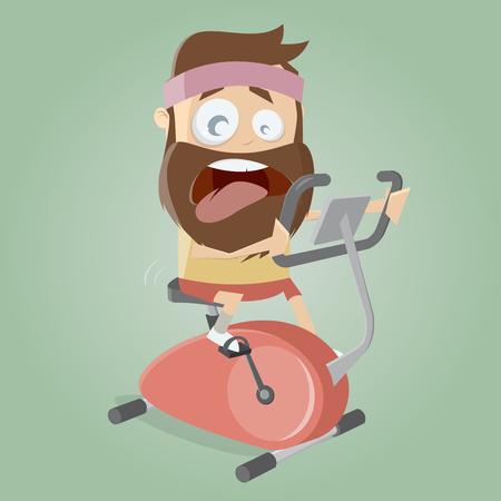 erschöpften Mann Training auf Indoor-Bike-Trainer