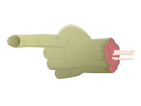 Grün isoliert Zombie Hand auf etwas zeigen Vektorgrafik