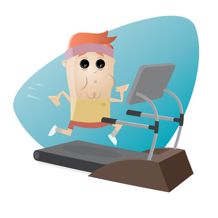 limp: exhausted man running on treadmill
