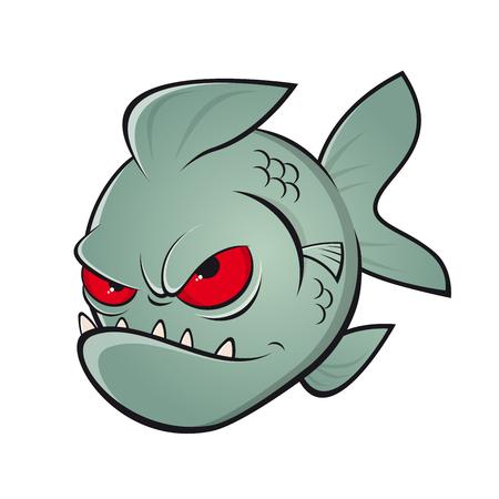 Wütende Karikatur Piranha Illustration