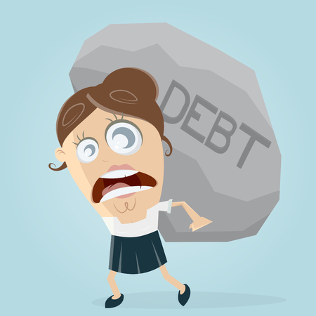 clipart of businesswoman carrying a big debt rock