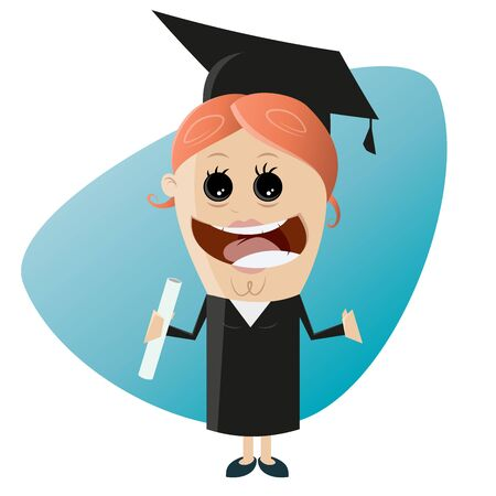 happy: happy woman with degree Illustration