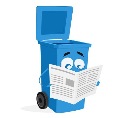 blue trashcan reading an old newspaper