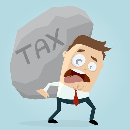 clipart of businessman carrying a big tax rock Illustration