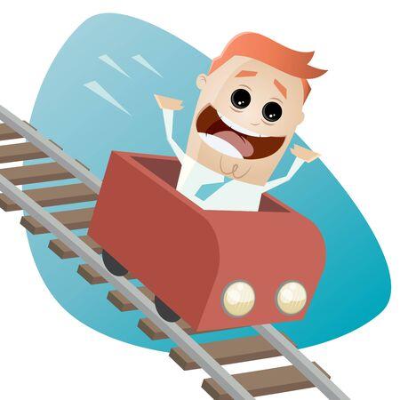 coaster: happy businessman in a roller coaster