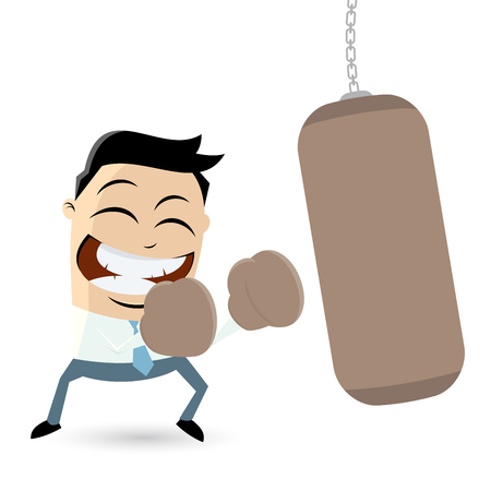punching: businessman with punching bag clipart