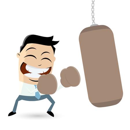 Geschäftsmann mit Boxsack Clipart Illustration