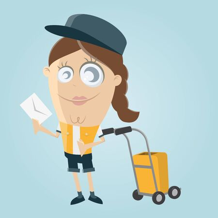 bringing: funny clipart of a postwoman bringing a letter Illustration