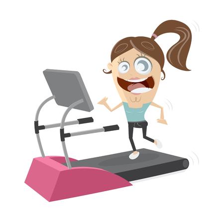 happy girl woman on treadmill Illustration