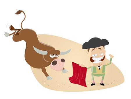 estereotipo: Divertido clipart de matador y toro Vectores