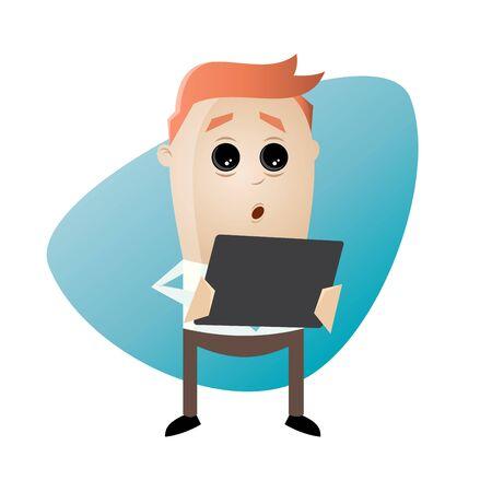 lustig Geschäftsmann ist in seinem Tablet sucht überrascht Illustration
