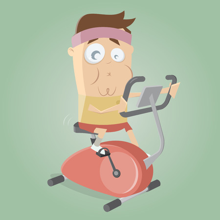 funny man training on indoor bike trainer
