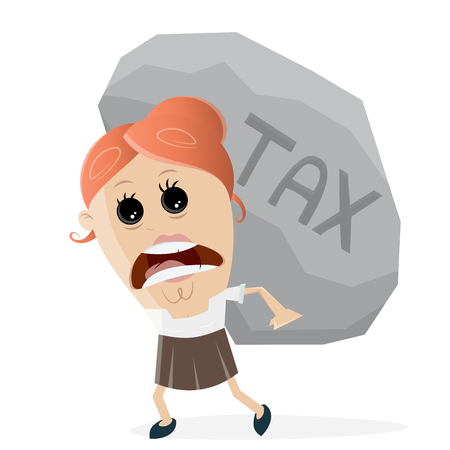clipart of businesswoman carrying a big tax rock