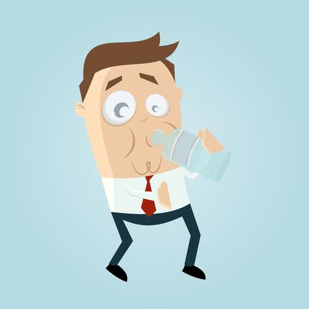 Clipart eines Mannes mit einer Flasche Wasser Illustration