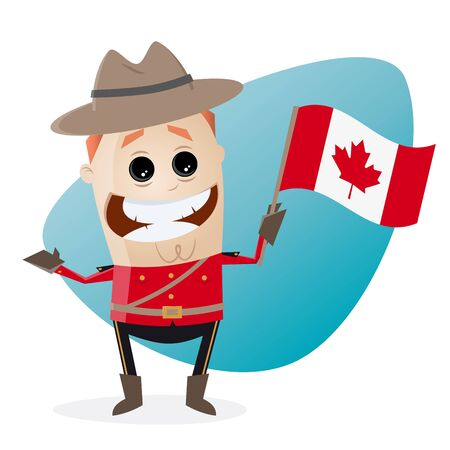 mountie: happy mountie with canadian flag Illustration
