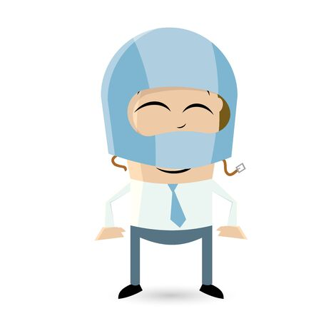 asian businessman: clipart of a funny man with crash helmet